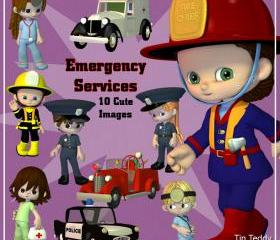 Emergency Services Digital Clip Art - 10 Clipart Images of Police, Fire and Medical Workers for Scrapbooking, Card making and other crafts
