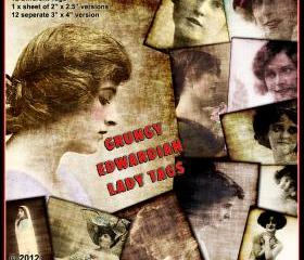Edwardian Lady Tags - Grungy Digital Collage Sheet and Images Distressed for Crafting