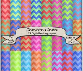 Chevron Digital Papers - Linen Effect Backgrounds for Crafting Projects, Scrapbooking and More