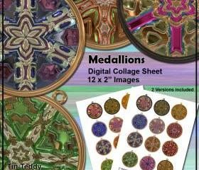 Medallion Digital Collage Sheet - 2 Inch Circles - Cupcake Toppers or Jewelry Clip Art