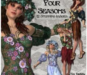 Digital Clip Art - Four Seasons - 12 Stunning Images for Scrapbooking, Birthday Card Making and More