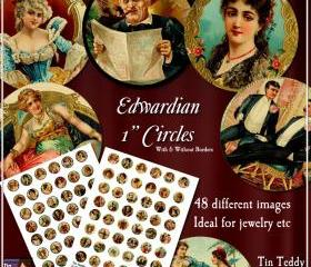 Edwardian Circles - 1 Inch Disks x 48 - Digital Collage Sheet - Perfect for Jewelry, Bottle Caps etc