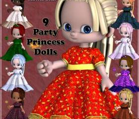 Party Princess Dolls, Digital Clip Art for Scrapbooking, Birthday Card Making and More - With Bonus Custom Doll Just For You