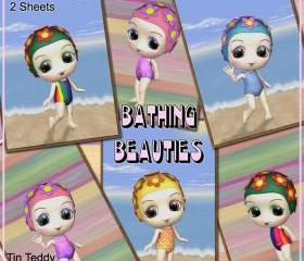 Crafting Tags - Bathing Beauties Tags - 24 Tags For Scrapbooking, Card Making and Other Crafts