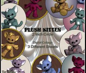 Plush Kittens Circles - 2 Inch Circles / Cupcake Toppers - Digital Collage Sheet x 3