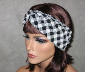 Handmade Bandeau Turban -Black/White Plaid