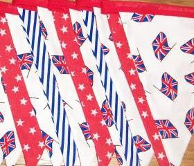 Jubilee Bunting Banner, Union Jack, red, white, blue cotton banner. 15 flags Ideal for Queens Diamond Jubilee celebrations