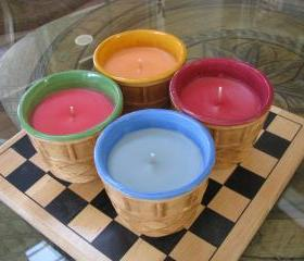 1ea HighlyScented Candle 12oz Ceramic IceCream Cone Jar Your choice Watermelon Cranberry Blueberry Limited Quantities