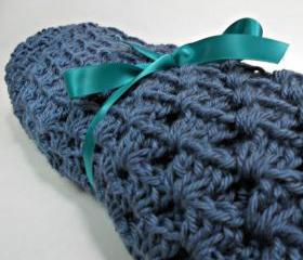 Crochet Baby Blanket Denim Blue