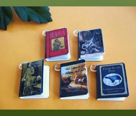 Steampunk Spooky Classics Miniature Book Charms Set of all 5