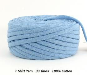 T Shirt Yarn Recycled Upcycled Light Blue 33 Yards Super Bulky