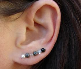 Ear Pins - Gunmetal, White Swarovski Pearls, Black Onyx, Sparkle - Black, White and Gray - Earrings Pair