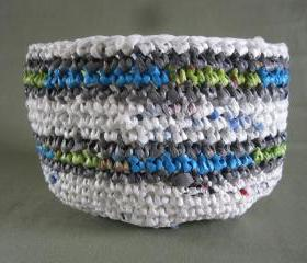 Upcycled Plarn Bowl - Made from recycled grocery bags