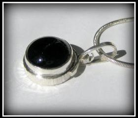 Pendant - Onyx Sterling Bezel Textured Brass