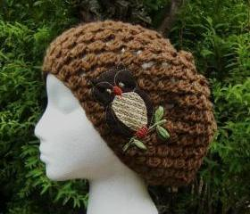 Cocoa Owl Slouchy Hand Crocheted Hat