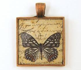 Butterfly Pendant - Black White Tan Copper Square Resin Pendant