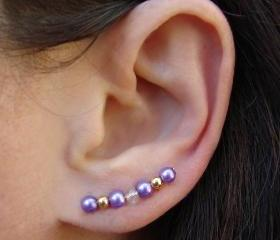 Ear Pins - Light Purple Glass Pearls and Gold - Lilac, Lavender - Earrings Pair