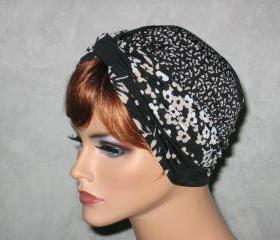 Handmade Twist Turban -Black/Tan Floral Stripe