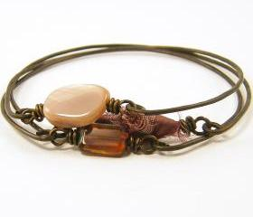 Stackable Bangle Bracelets - Pink Mauve Brown