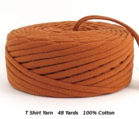 T Shirt Yarn Recycled Upcycled Burnt Orange 48 Yards Super Bulky