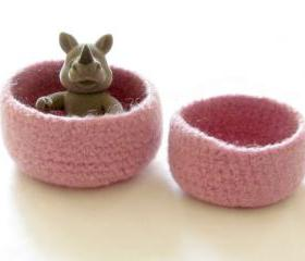 Pink Felted bowl - Spring victorian Pink - Set of two - Cozy gift