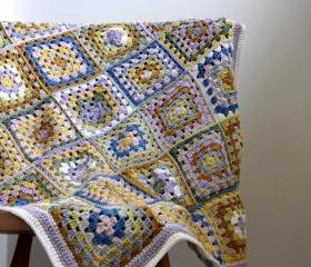 Granny Square Crochet Lap Blanket - MADE TO ORDER