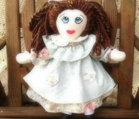 Rosy Mint Cloth Rag Doll Handmade Hand Embroidered Face 21'