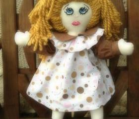 Bubbles In Brown And Pink 21' Cloth Rag Doll