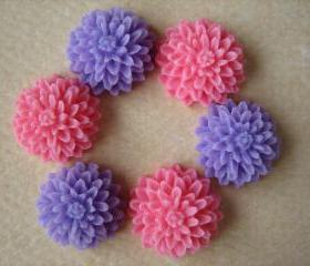 6PCS - Mini Mum Flower Cabochons - 10MM Resin - Honeysuckle Pink and Purple - Cabochons by ZARDENIA