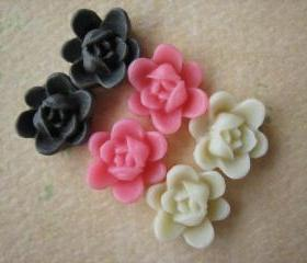 6PCS - Mini Lotus Flower Cabochons - Resin - 9mm - Brown, Pink and Ivory - Cabochons by ZARDENIA