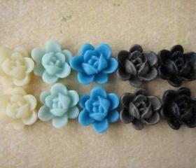 10PCS - Mini Lotus Flower Cabochons - Resin - 9mm - Blues, Ivory, Brown and Black - Cabochons by ZARDENIA