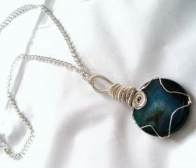 Blue Agate Wire Wrapped Pendant with Silver Plated chain Handmade