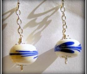 Earrings - Ivory Blue Lampwork Glass