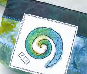 Cosmetics Bag, Clutch Wristlet, Handpainted, Teal Blue Green, Spiral
