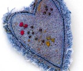 Mixed Media Denim Heart Pin Brooch, Hand Embroidered, Beaded, Recycled