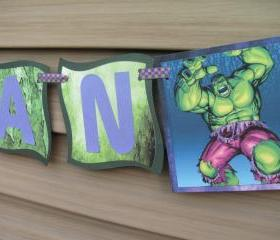 Personalized Incredible Hulk Birthday Banner