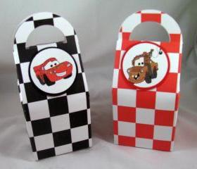 Cars Birthday Favor Boxes featuring Lightning McQueen and Mater