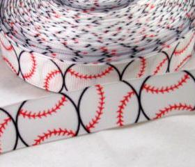 Baseball 7/8' Grosgrain Ribbon 3 Yards