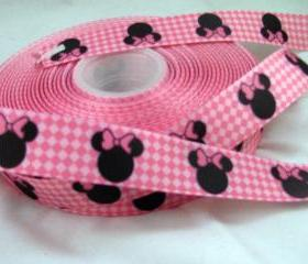 3 Yards 7/8' Diamond Minnie Mouse Grosgrain Ribbon