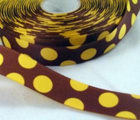 3 Yards of 1' Grosgrain Ribbon in brown with yellow dots