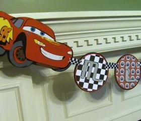 Cars Birthday Banner with Personalized Name Banner featuring Lightning McQueen & Mater