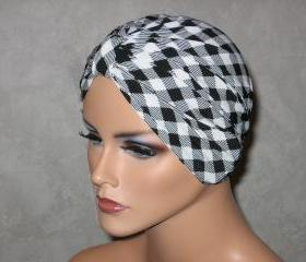 Handmade Chemo Turban -Black/White Plaid