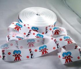 "Cat in the Hat 1"" Grosgrain Ribbon - 3 Yards"