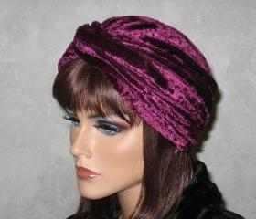 Handmade Fashion Twist Turban -Burgundy Velour