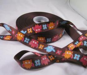 "Festive Owl 7/8"" Ribbon - 3 Yards"