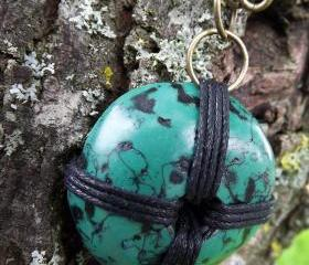 Turquoise pendant necklace, Faux turquoise made with polymer clay on antique bronze coloured chain.