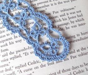 Blue Tatted Lace Bookmark