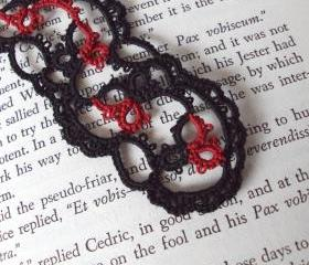 Gothic Black Red Lace Bookmark