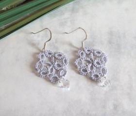 Silver Lace Earrings in Tatting