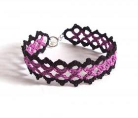 Black Purple Bracelet in Tatting